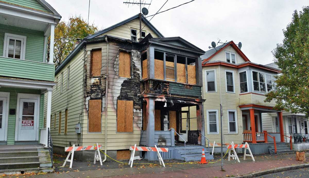 Fire-damaged home at 20 Benson St. in Albany on Thursday, Nov. 1, 2012. (John Carl D'Annibale / Times Union archive)