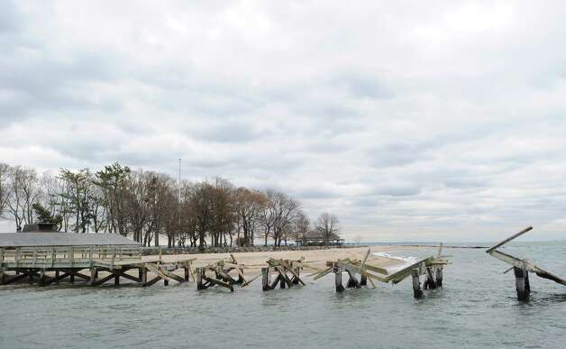 The obliterated Island Beach pier is seen during a tour of the Greenwich coastline given by Greenwich Harbor Master Ian MacMillan of the damaged caused by Hurricane Sandy, November 1, 2012. Photo: Bob Luckey / Greenwich Time