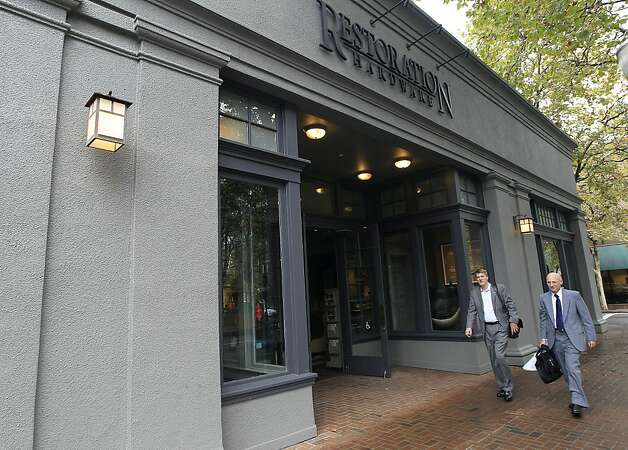 Restoration Hardware stores, like this one on University Avenue in Palo Alto, sell such items as leather couches and tables made of salvaged wood. Photo: Tony Avelar, Bloomberg