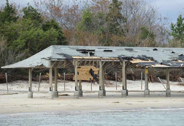 A damaged shade hut at Greenwich Point as seen from Long Island Sound during a tour of the Greenwich coastline given by Greenwich Harbor Master Ian MacMillan of the destruction caused by Hurricane Sandy, November 1, 2012. Photo: Bob Luckey / Greenwich Time