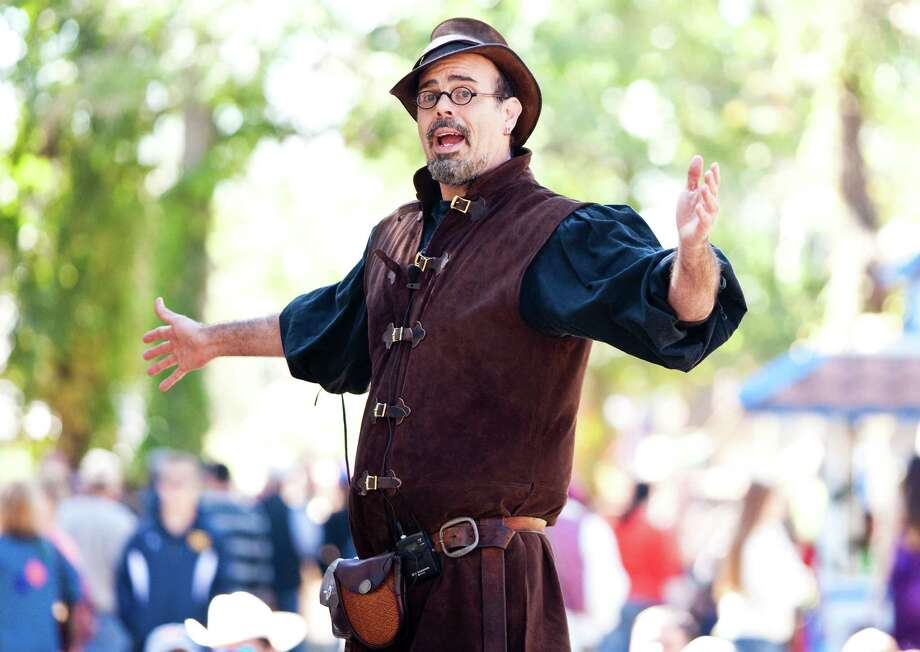 Christophe the Insulter does his crude yet funny comedy bit at the Greek Agora stage during the Texas Renaissance Festival, Sunday, Oct. 28, 2012,  in Todd Mission. The festival will continue until November 25th. ( Nick de la Torre / Houston Chronicle ) Photo: Nick De La Torre, Staff / Houston Chronicle