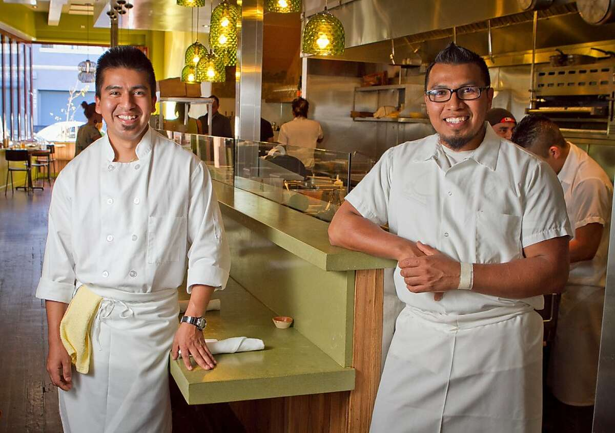 Chefs Jose Ramos, (glasses) and Gonzalo Guzman of Nopalito in San Francisco, Calif., are seen on Saturday, October 27th, 2012.