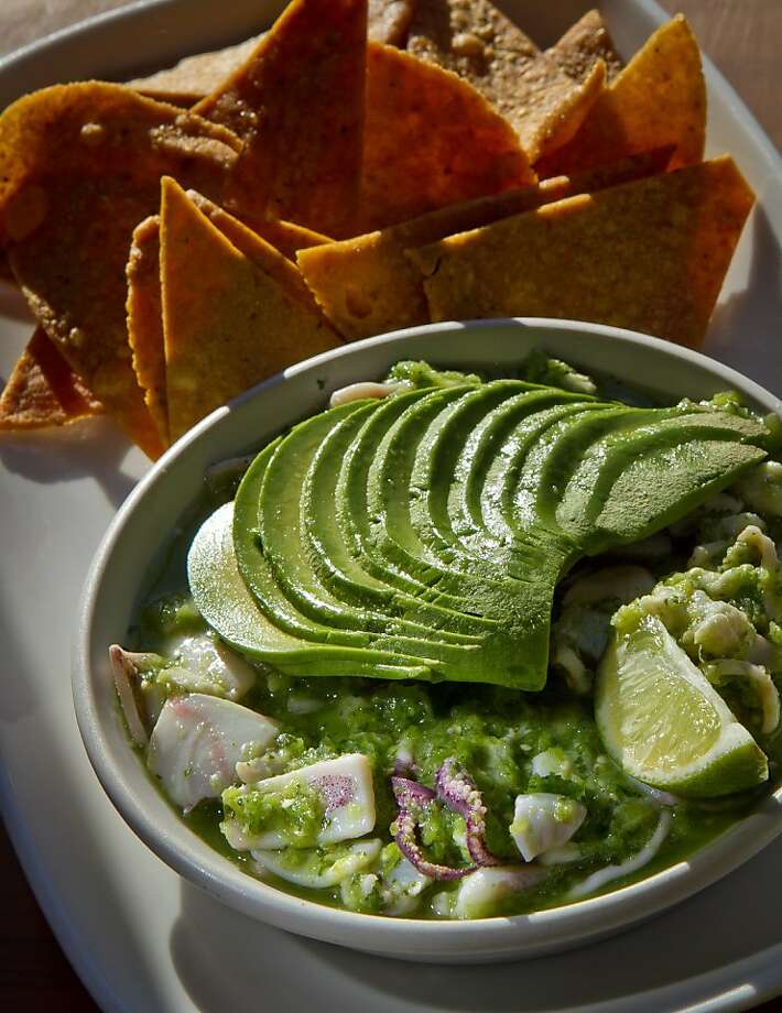Ceviche has local fish, calamari and avocado, with lime, tomatillo and jalapeno. Photo: John Storey, Special To The Chronicle