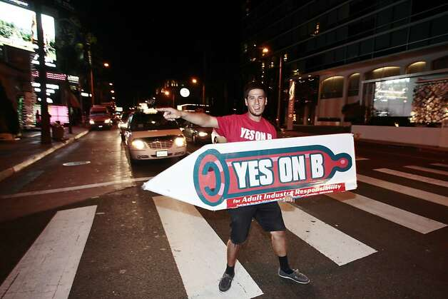 Supporters of Vote Yes on B in Los Angeles, which would require adult film performers to wear condoms. Photo: Joe Kohen, Associated Press