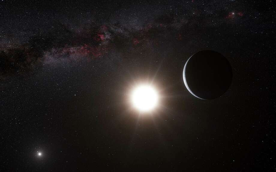 This artist s impression made available by the European Southern Observatory on Tuesday, Oct. 16, 2012 shows a planet, right, orbiting the star Alpha Centauri B, center, a member of the triple star system that is the closest to Earth. Alpha Centauri A is at left. The Earth's Sun is visible at upper right. Searching across the galaxy for interesting alien worlds, scientists made a surprising discovery: a planet remarkably similar to Earth in a solar system right next door. Other Earth-like planets have been found before, but this one is far closer than previous discoveries. Unfortunately, the planet is way too hot for life, and it s still 25 trillion miles away. (AP Photo/ESO, L. Calcada) Photo: AP, HONS / European Southern Observatory