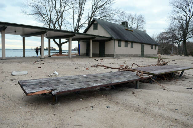 Picnic tables are covered by sand at Cove Island Beach in Stamford on Thursday, Nov. 1, 2012. Photo: Amy Mortensen / Stamford Advocate Freelance