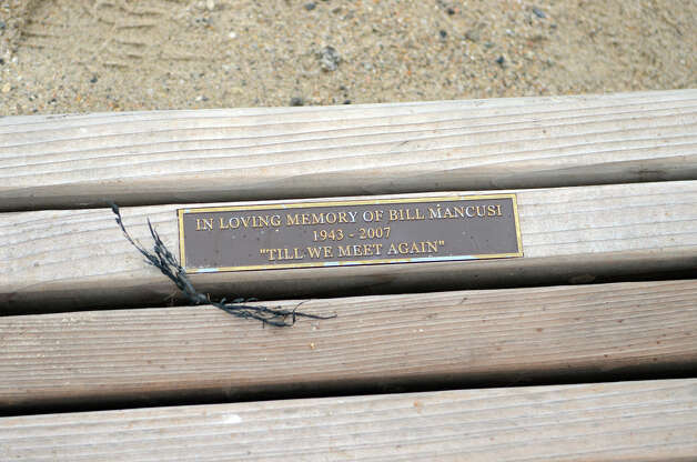 A memorial bench at West Beach in Stamford is upended on Thursday, Nov. 1, 2012. Photo: Amy Mortensen / Stamford Advocate Freelance