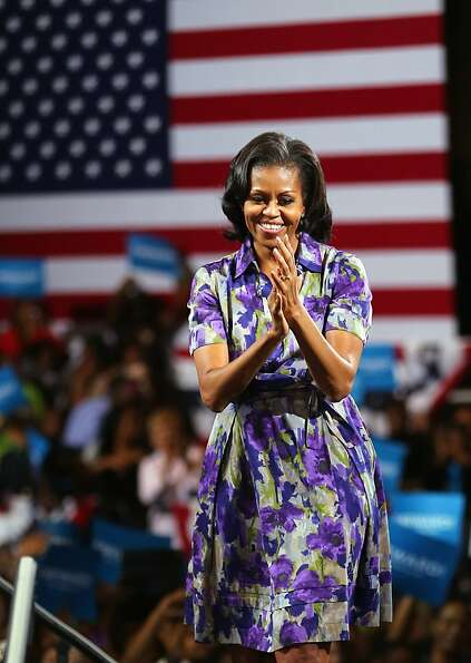 First Lady Michelle Obama speaks during a campaign rally at the James L. Knight Center on November 1