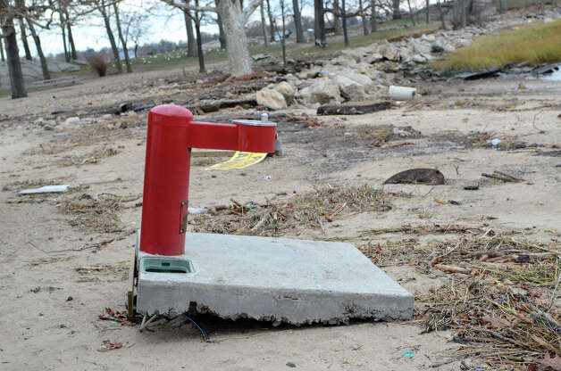 A water fountain has been uprooted at Cove Island Beach in Stamford on Thursday, Nov. 1, 2012. Photo: Amy Mortensen / Stamford Advocate Freelance