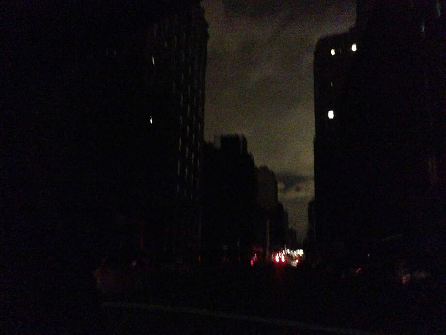 The pitch black streets of Lower Manhattan were dangerous to drive on Wednesday night. Here's one intersection that I photographed on my cab trip up to Midtown. Photo: Nolan Hicks, San Antonio Express-News