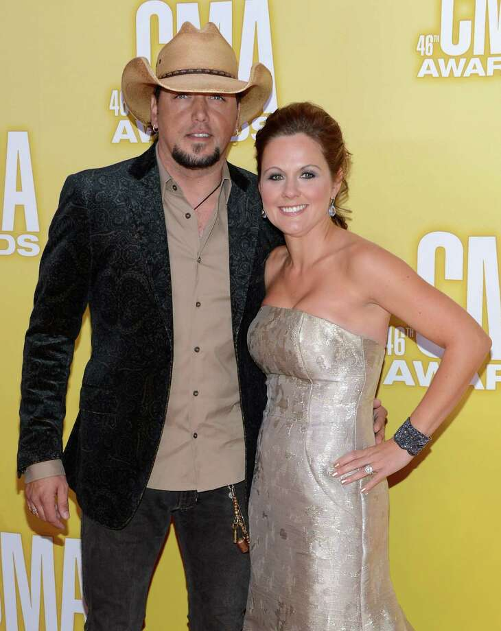 (L-R) Country music artist Jason Aldean and Jessica Aldean attend the 46th annual CMA Awards at the Bridgestone Arena on November 1, 2012 in Nashville, Tennessee. Photo: Jason Kempin, Getty Images / 2012 Getty Images