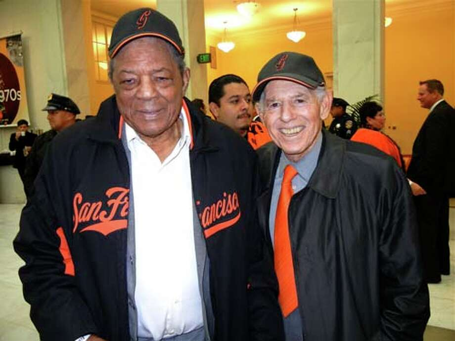 Giants great Willie Mays (left) with Giants partner Allan Byer  (Catherine Bigelow) Photo: Catherine Bigelow