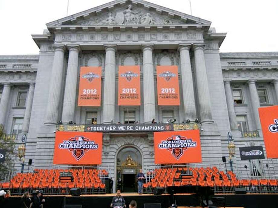 City Hall set an orange-and-black stage for the World Series Parade post-celebration with our 2012 WS Champions (Catherine Bigelow)