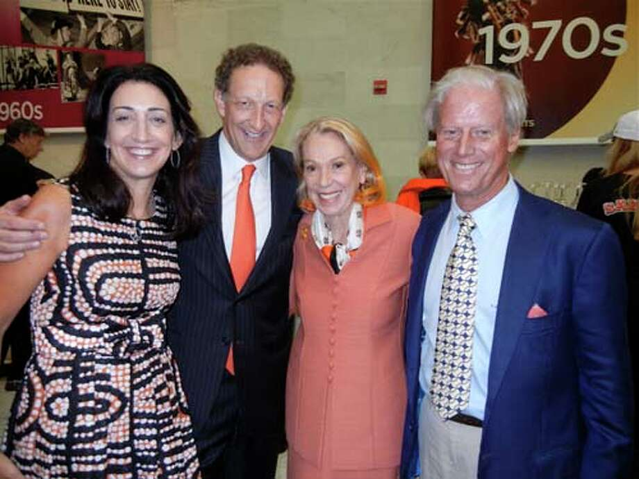 Pam Baer (left) with her husband, Giants CEO Larry Baer, Charlotte Shultz and Giants President Emeritus Peter Magowan (Catherine Bigelow)