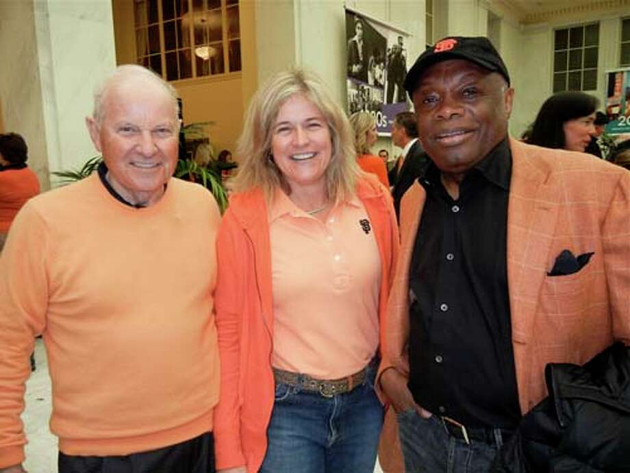 Giants principal partner Charles Johnson (left) with his daughter, Jennifer Johnson and Willie Brown (Catherine Bigelow)