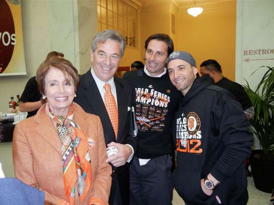 Rep. Nancy Pelosi (left) with her husband, Paul Pelosi, son Paul Pelosi, Jr. and Giants second baseman Marco Scutaro (Catherine Bigelow)