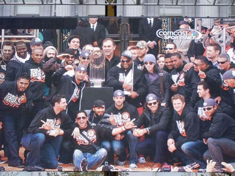 Your SF Giants World Series 2012 Champions as seen on the big screen at City Hall (Catherine Bigelow)