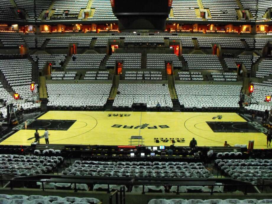 The AT&T Center stands decked out in white T-shirts for opening night. Joe Alexander/mySA.com