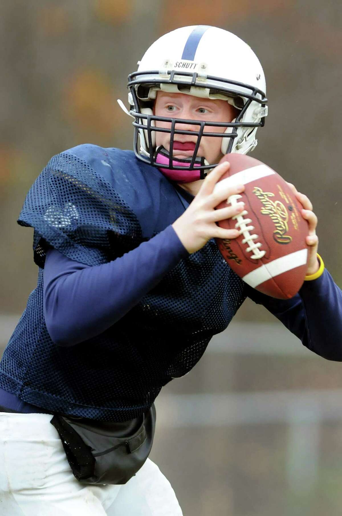 Quarterback Steven Harwood looks to pass during football practice on Thursday, Nov. 1, 2012, at Rensselaer High in Rensselaer, N.Y. (Cindy Schultz / Times Union)
