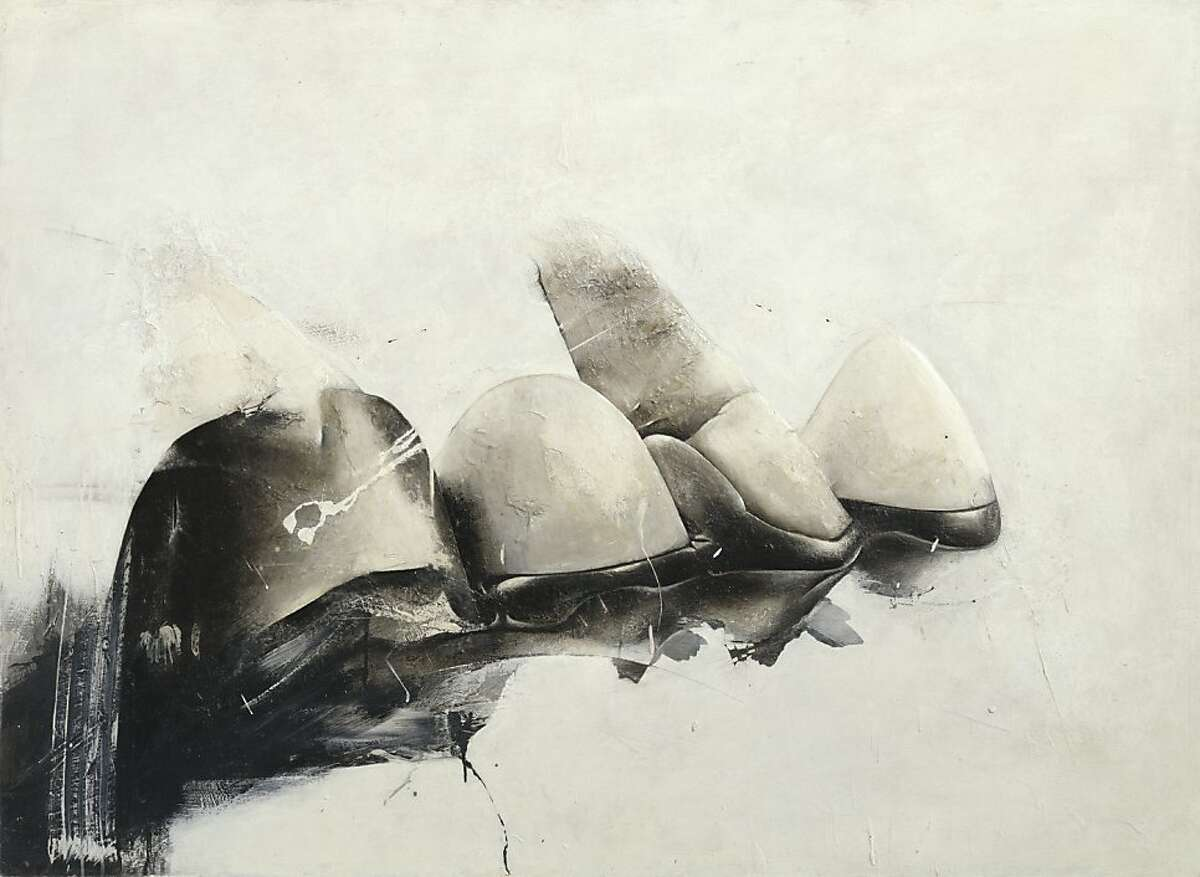 """""""Crescent Bridge I"""" (1972) synthetic polymer and mixed media on plywood by Jay DeFeo"""