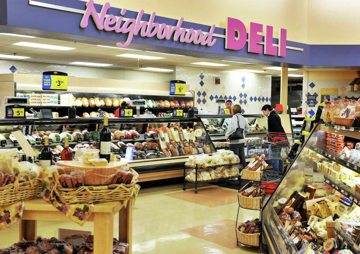 Customers at the deli counter in the Hannaford supermarket on Columbia Turnpike in East Greenbush Thursday Nov. 1, 2012. (John Carl D'Annibale / Times Union)