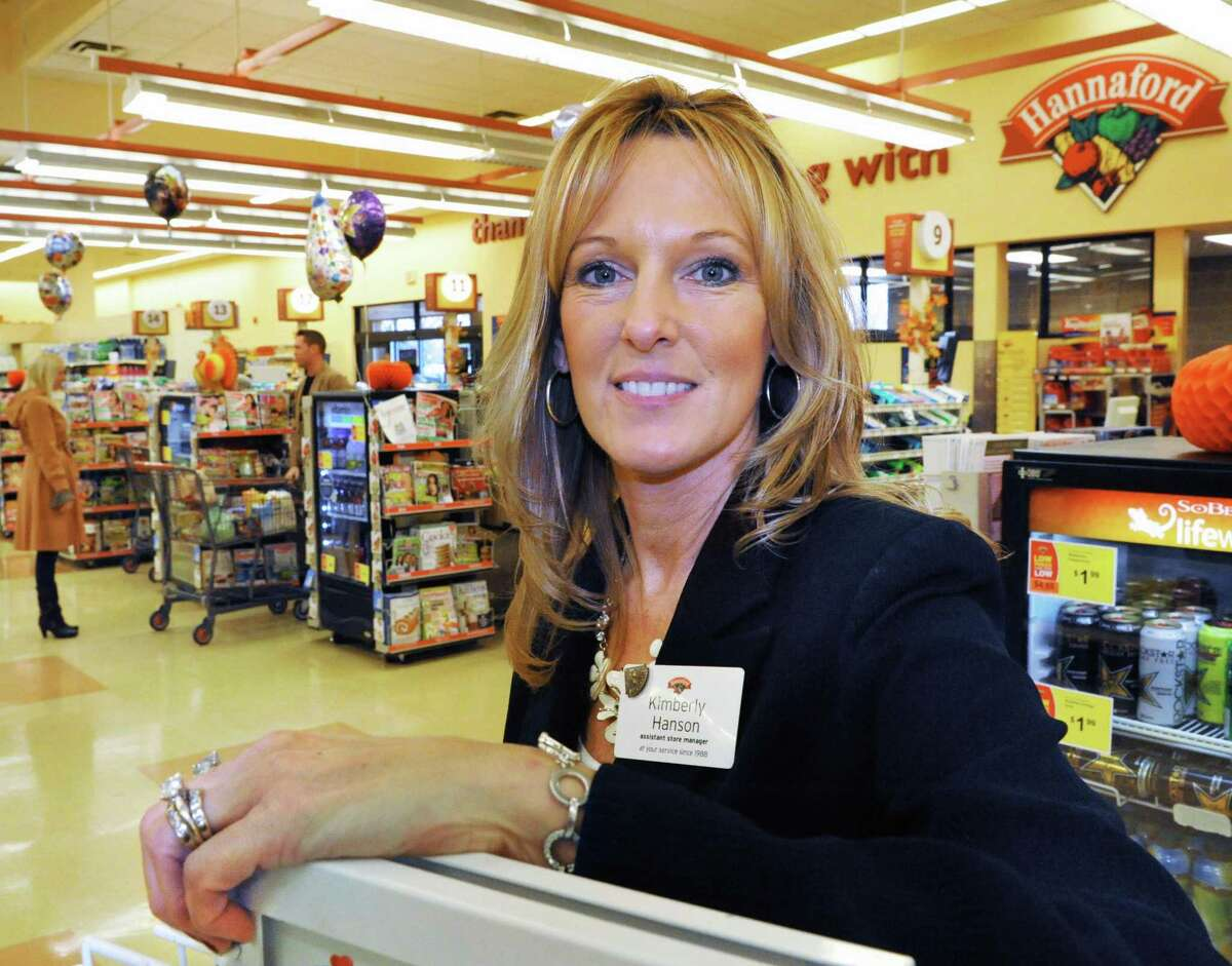 Assistant store manager Kim Hanson at the Hannaford supermarket on Columbia Turnpike in East Greenbush Thursday Nov. 1, 2012. (John Carl D'Annibale / Times Union)
