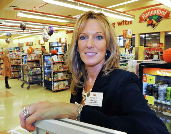 Assistant store manager Kim Hanson at the Hannaford supermarket on Columbia Turnpike in East Greenbush Thursday Nov. 1, 2012.  (John Carl D'Annibale / Times Union) Photo: John Carl D'Annibale / 00019918A