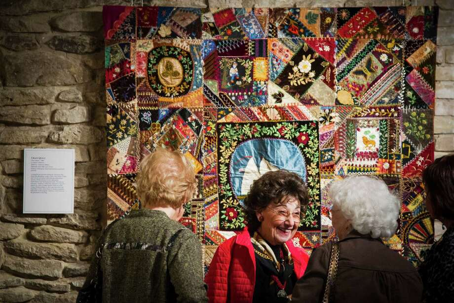 Lucy Abadjian, center, visits with friends while looking at the selection of quilts at the Texas Quilt Museum, Friday, Oct. 26, 2012, in La Grange. Photo: Michael Paulsen, Houston Chronicle / © 2012 Houston Chronicle