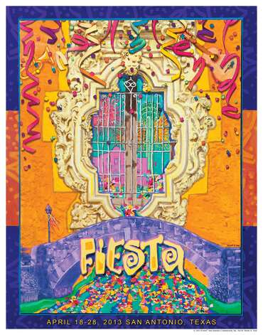 "The Fiesta Commission unveiled the official 2013 Fiesta poster Thursday night at the Central Library. This creation by Stuart A. Seal, titled ""Bridging The Traditions and Cultures of Fiesta,"" uses the Rose Window of Mission San Jose as its centerpiece. The poster will go on sale Nov. 3 at the grand opening of The Fiesta Store, 2611 Broadway. Continue for the 