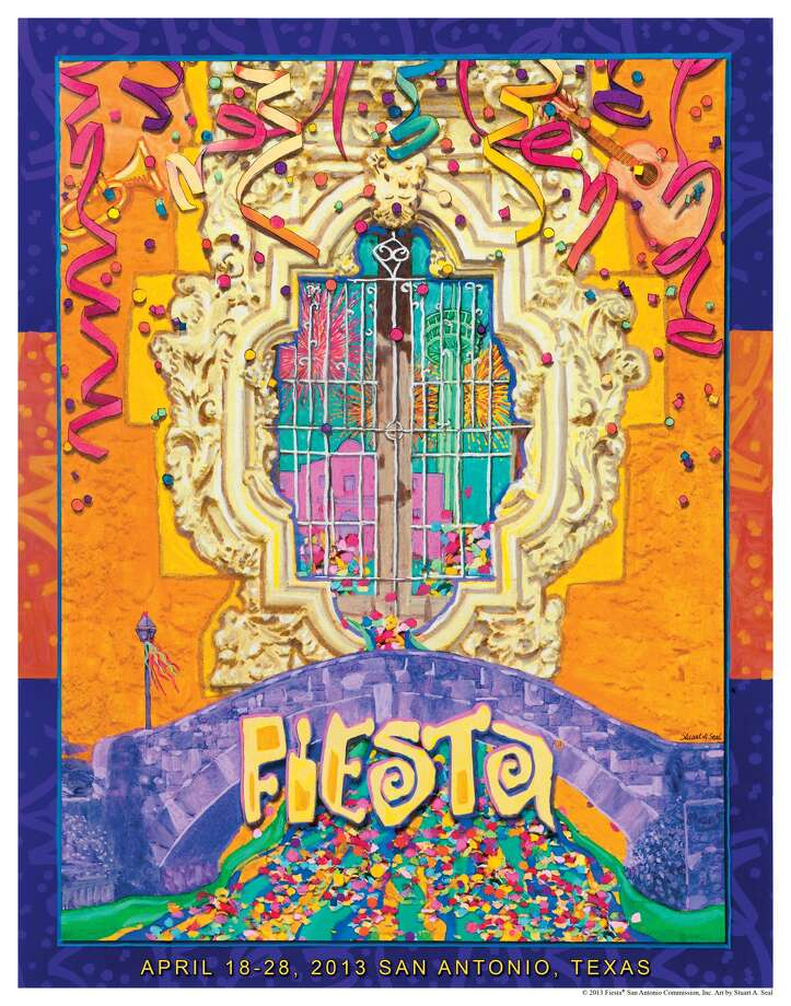 "2013: Stuart A. Seal, titled ""Bridging The Traditions and Cultures of Fiesta,"" uses the Rose Window of Mission San Jose as its centerpiece."