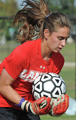 Lamar's Bailey Fontenot works defending the goal during practice on Tuesday. The Lady Card are preparing for the Southland Conference Tournament. Photo taken Tuesday, October 30, 2012 Guiseppe Barranco/The Enterprise Photo: Guiseppe Barranco, STAFF PHOTOGRAPHER / The Beaumont Enterprise