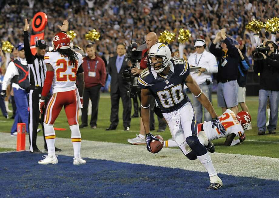 Chargers wide receiver Malcom Floyd celebrates his touchdown reception against the Chiefs in the second half. Photo: Denis Poroy, Associated Press