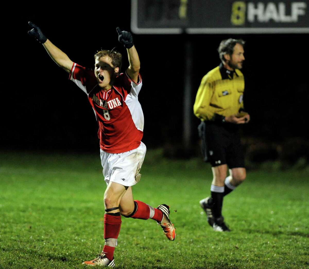 Niskayuna's Ian Cutting (8) celebrates scoring on the penalty kick during their Section II Class AA boys' soccer semifinals against Shenendehowa on Thursday, Nov. 1, 2012, at Colonie High in Colonie, N.Y. (Cindy Schultz / Times Union)