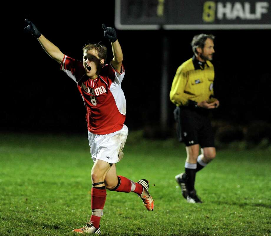 Niskayuna's Ian Cutting (8) celebrates scoring on the penalty kick during their Section II Class AA boys' soccer semifinals against Shenendehowa on Thursday, Nov. 1, 2012, at Colonie High in Colonie, N.Y. (Cindy Schultz / Times Union) Photo: Cindy Schultz / 00019899A