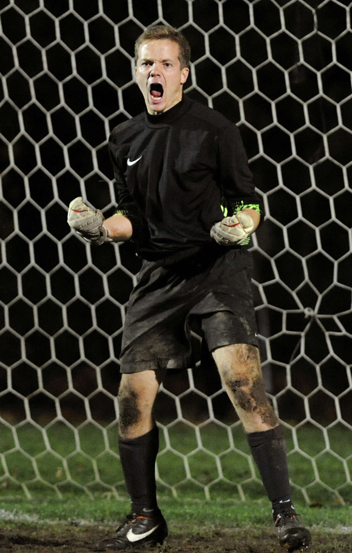 Niskayuna's goalkeeper Taylor Tear celebrates when he stops a Shenendehowa penalty kick during their Section II Class AA boys' soccer semifinals on Thursday, Nov. 1, 2012, at Colonie High in Colonie, N.Y. (Cindy Schultz / Times Union)