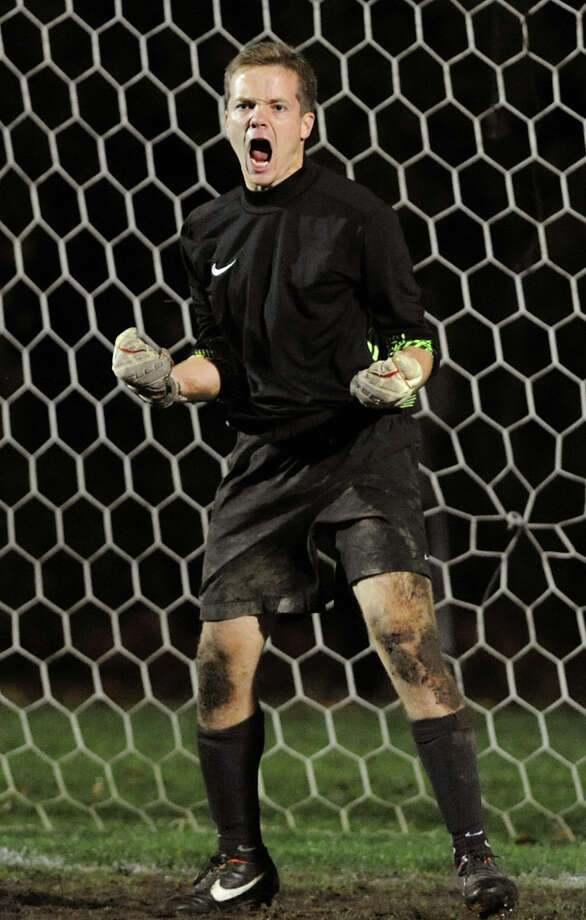 Niskayuna's goalkeeper Taylor Tear celebrates when he stops a Shenendehowa penalty kick during their Section II Class AA boys' soccer semifinals on Thursday, Nov. 1, 2012, at Colonie High in Colonie, N.Y. (Cindy Schultz / Times Union) Photo: Cindy Schultz / 00019899A