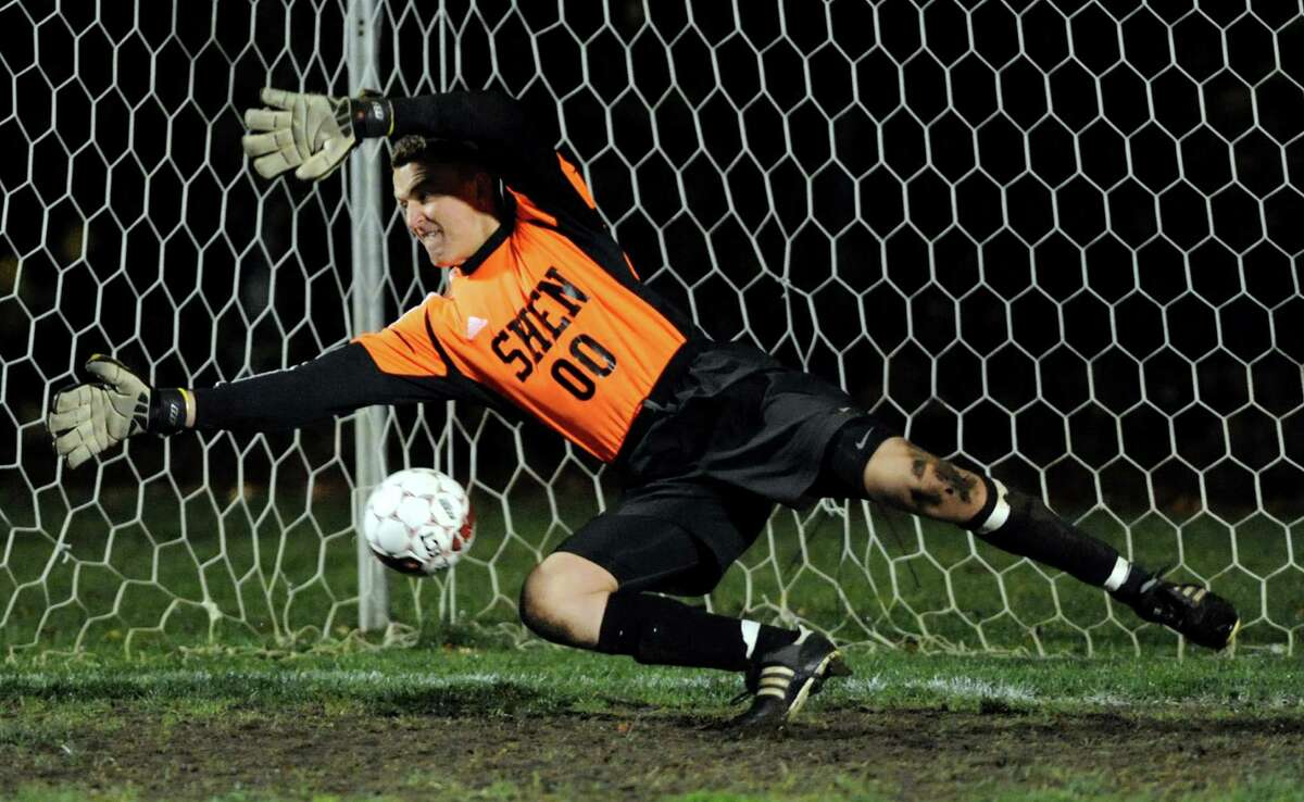 Shenendehowa's goalkeeper Justin Rohrwasser can't stop a Niskayuna penalty kick during their Section II Class AA boys' soccer semifinals on Thursday, Nov. 1, 2012, at Colonie High in Colonie, N.Y. (Cindy Schultz / Times Union)