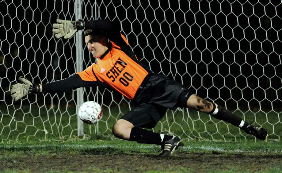 Shenendehowa's goalkeeper Justin Rohrwasser can't stop a Niskayuna penalty kick during their Section II Class AA boys' soccer semifinals on Thursday, Nov. 1, 2012, at Colonie High in Colonie, N.Y. (Cindy Schultz / Times Union) Photo: Cindy Schultz / 00019899A