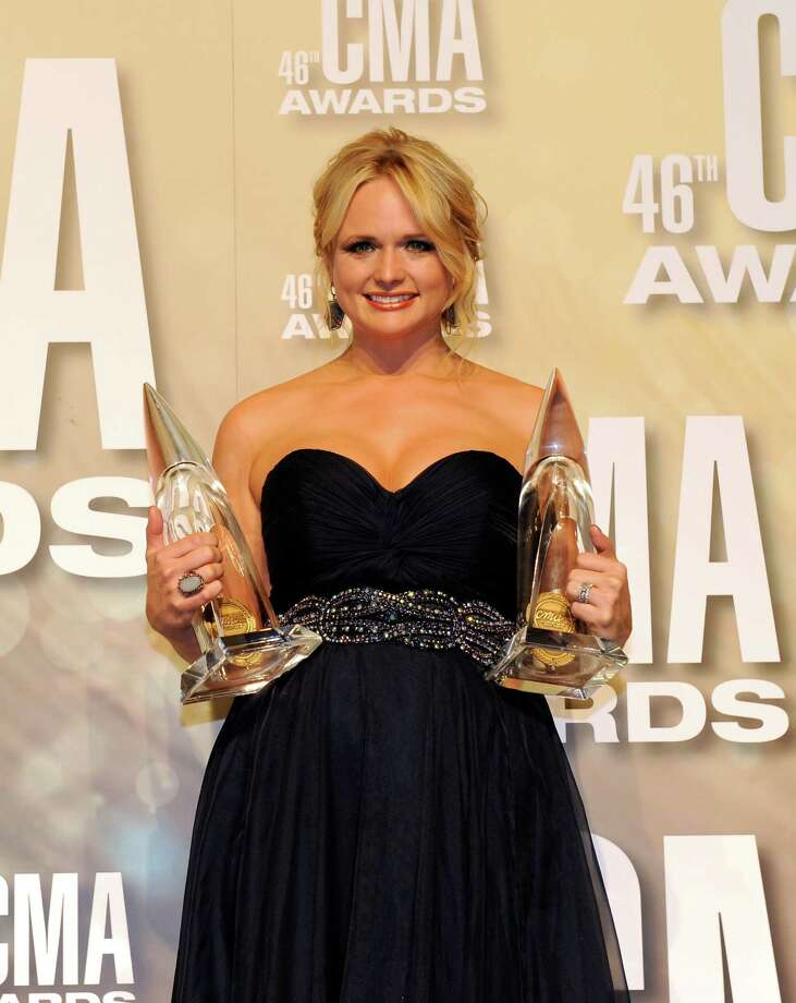 NASHVILLE, TN - NOVEMBER 01:  Miranda Lambert poses with awards at the 46th annual CMA Awards at the Bridgestone Arena on November 1, 2012 in Nashville, Tennessee. Photo: Erika Goldring, Getty Images / 2012 Getty Images
