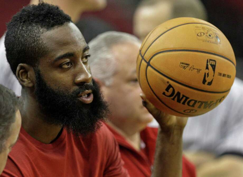 "James Harden's sterling opener has been met with considerable praise and attention, including a ""way to hoop"" text from his superstar role model, Kevin Durant. Photo: Melissa Phillip, Staff / Houston Chronicle"