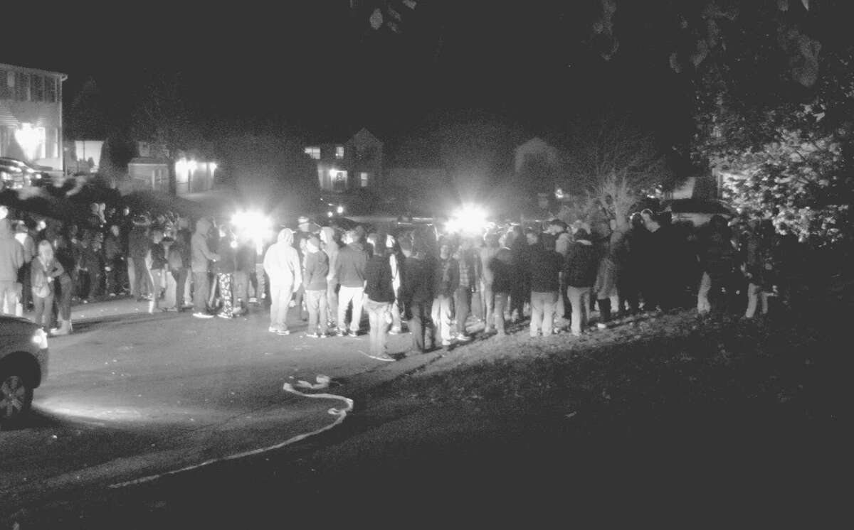 Residents on Clare Castle Dr. in Colonie were overrun with unruly Halloween revelers Monday night Oct. 31, 2011. Police were called in to disperse the large crowd which chose to converged on the neighborhood. (Courtesy Loretta Orlando)