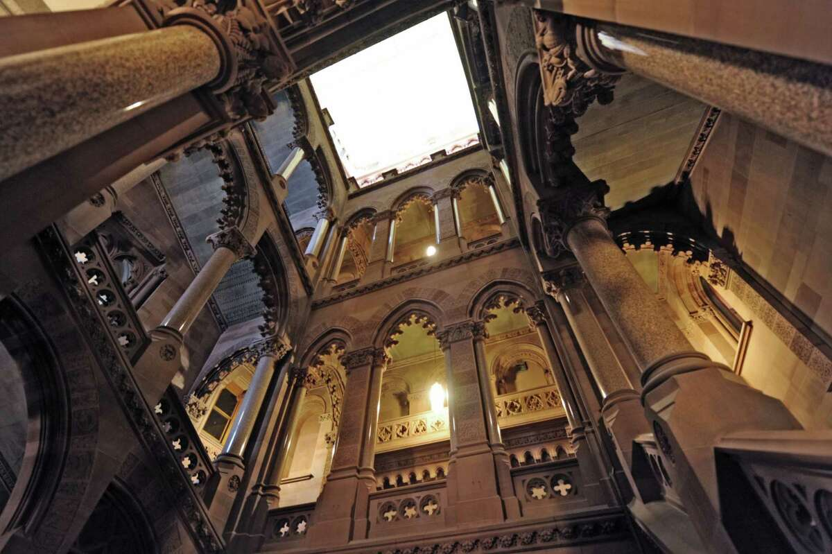A view from the first floor of the stairwell on the Senate side of the capitol building on Wednesday, Oct. 31, 2012 in Albany, NY. (Paul Buckowski / Times Union)