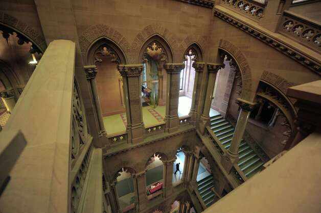 A view from the 4th floor looking down on the stairwell on the Senate side of the capitol building on Wednesday, Oct. 31, 2012 in Albany, NY.   (Paul Buckowski / Times Union) Photo: Paul Buckowski