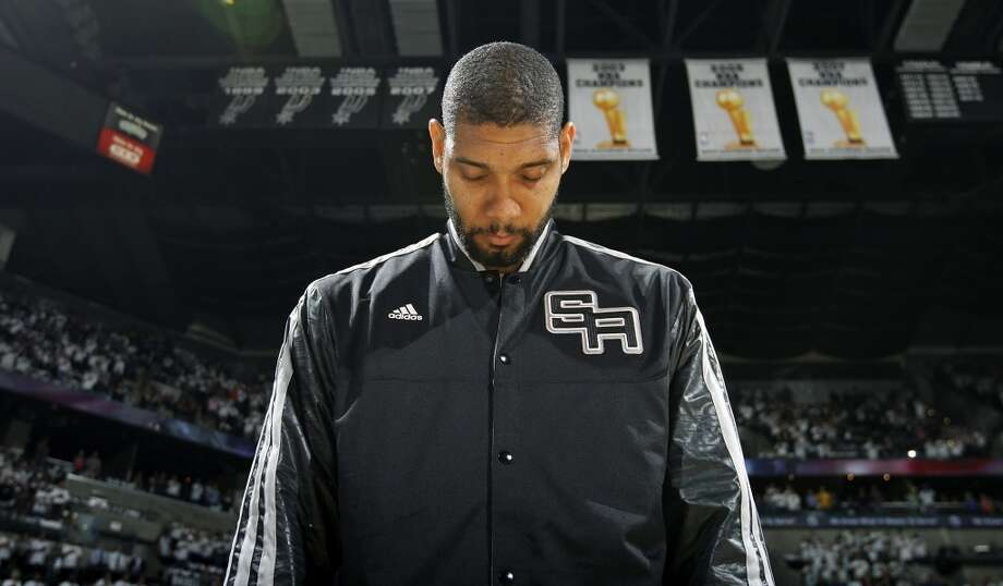 San Antonio Spurs' Tim Duncan stands during the national anthem before the game with the Oklahoma City Thunder Thursday Nov. 1, 2012 at the AT&T Center. (Edward A. Ornelas / San Antonio Express-News)
