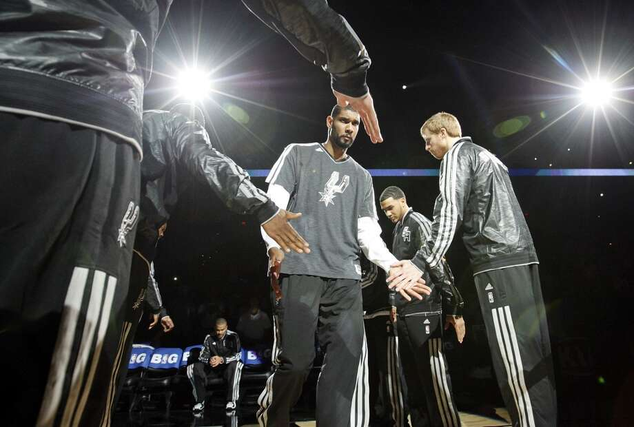 San Antonio Spurs' Tim Duncan is introduced before the game with the Oklahoma City Thunder Thursday Nov. 1, 2012 at the AT&T Center. (Edward A. Ornelas / San Antonio Express-News)