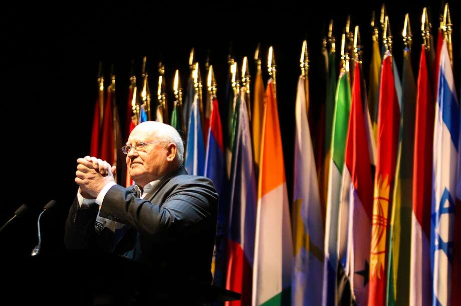 Gorbachev takes the stage in the Brilliant Lecture Series at the Worthan Center on Thursday.