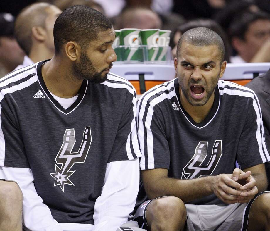 San Antonio Spurs' Tim Duncan and Tony Parker sit on the bench during second half action against the Oklahoma City Thunder Thursday Nov. 1, 2012 at the AT&T Center. The Spurs won 86-84. (Edward A. Ornelas / San Antonio Express-News)