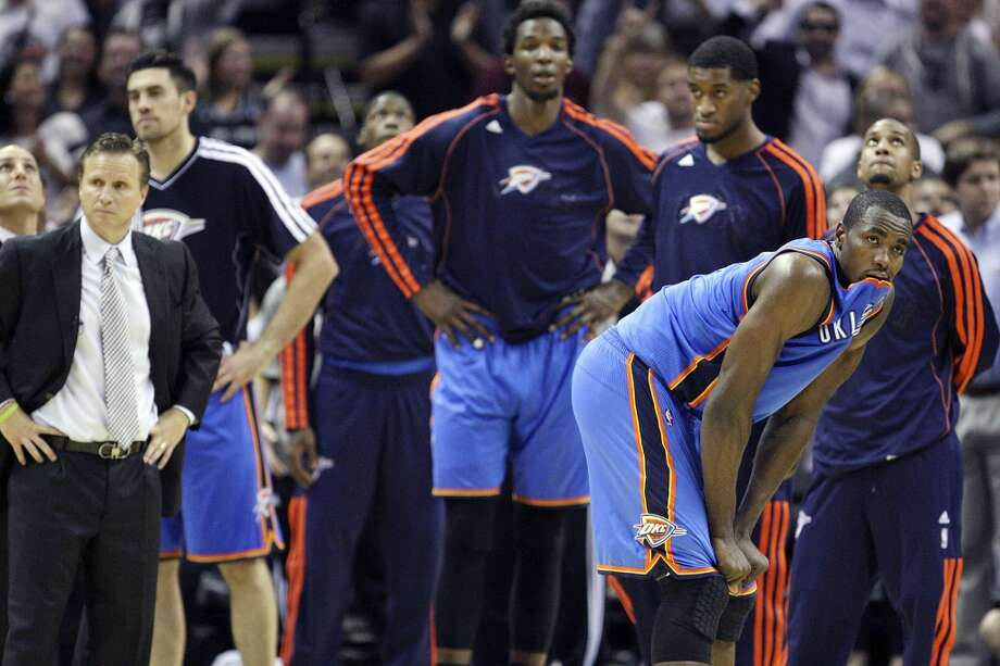Oklahoma City Thunder's Serge Ibaka and teammates reacts at the end of the game with the San Antonio Spurs Thursday Nov. 1, 2012 at the AT&T Center. The Spurs won 86-84. (Edward A. Ornelas / San Antonio Express-News)