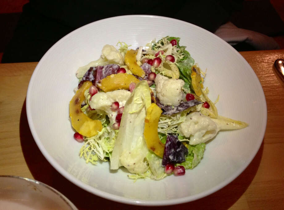 Salad with squash and pomegrante at Hopscotch