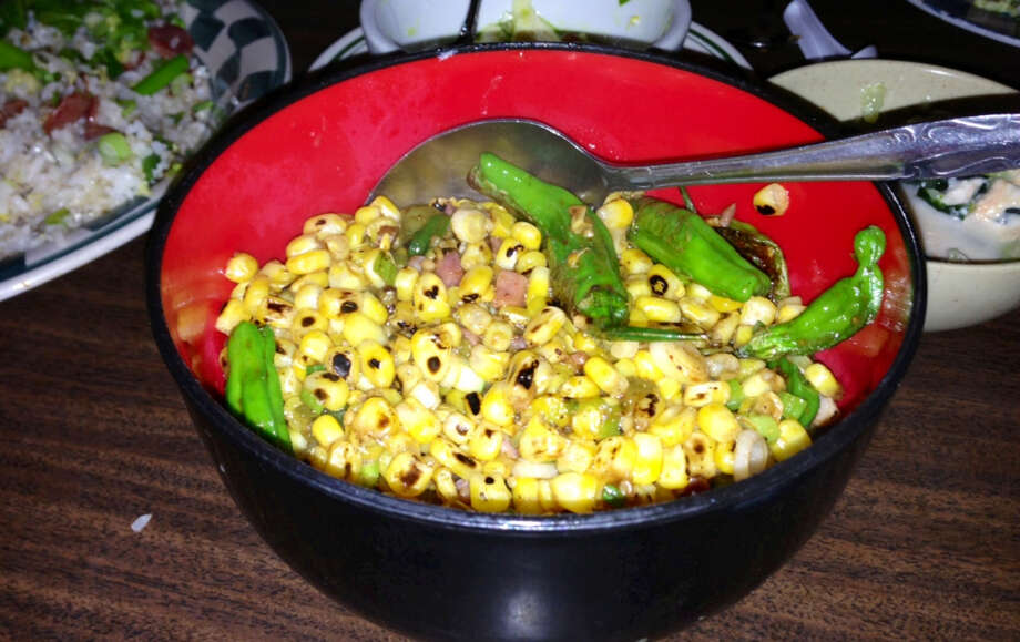 Corn with shishito peppers at Mission Chinese Food